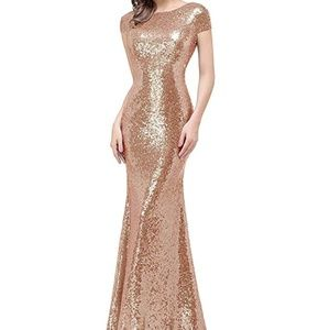 Sequins Prom/Bridesmaid Dress Rose Gold Long Dress